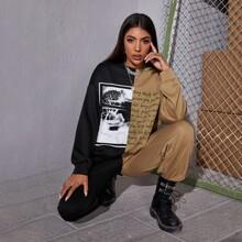 Sweatshirt mit Buchstaben Grafik und Farbblock