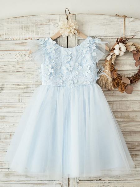 Milanoo Flower Girl Dresses Jewel Neck Short Sleeves Beaded Kids Blue Party Dresses
