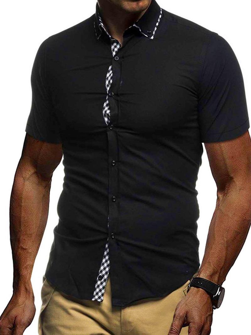Ericdress Lapel Loose Men's Solid Color Shirt