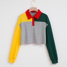 Sweatshirt mit Farbblock und halber Knopfleiste