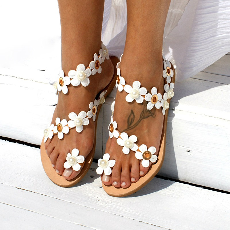 Ericdress Floral Toe Ring Slip-On Women's Flat Sandals