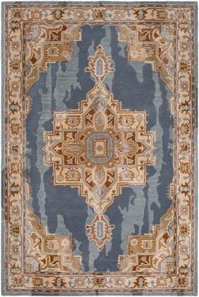 Hannon Hill HNO-1010 2' x 3' Rectangle Traditional Rug in Denim  Teal  Wheat  Tan  Dark