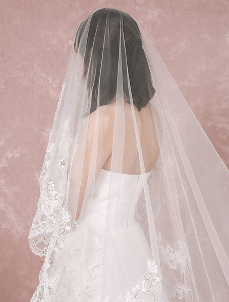 Milanoo Cathedral Wedding Veil Tulle One-Tier Lace Applique Edge Waterfall Bridal Veil
