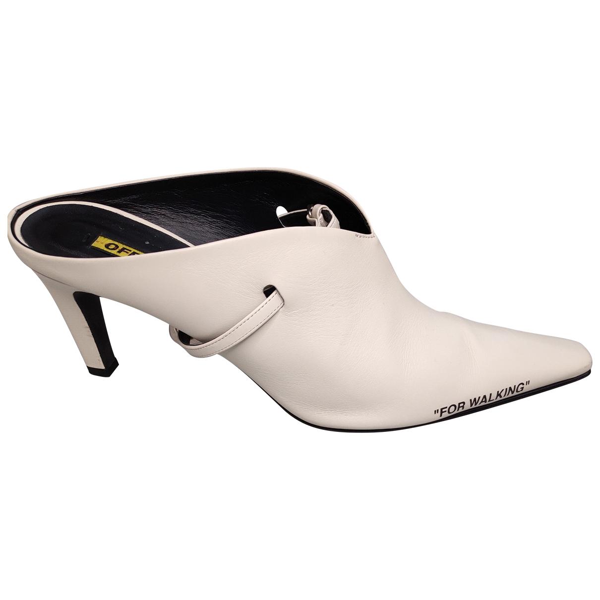 Off-white - Sabots   pour femme en cuir - blanc