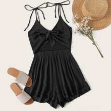 Tie Front Shirred Ruffle Hem Cami Playsuit