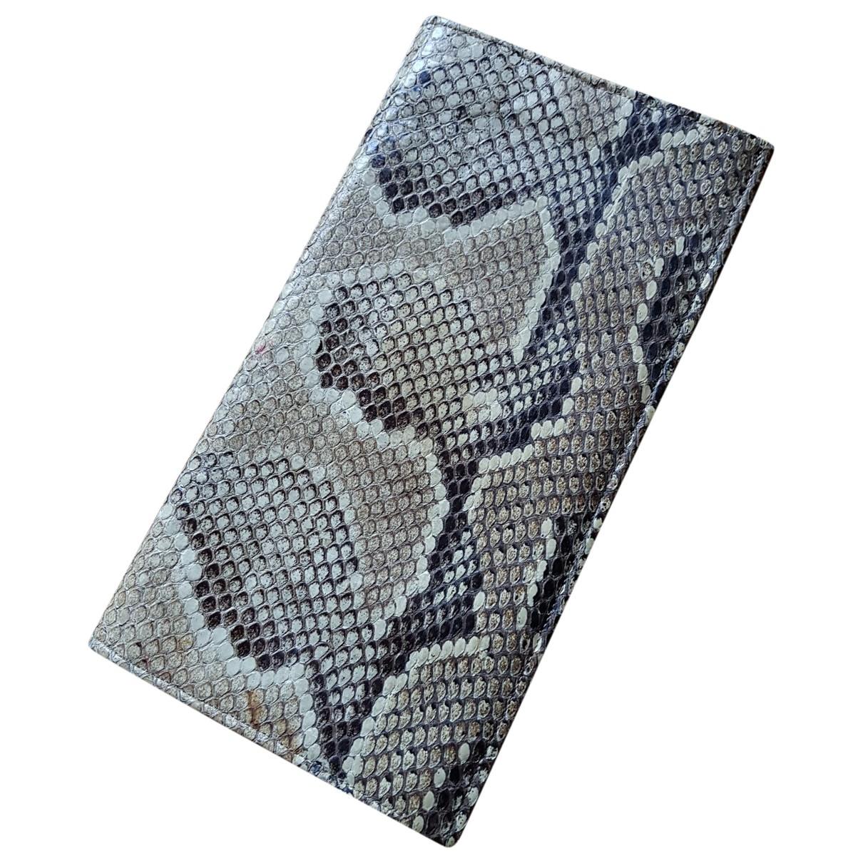 - Pochette   pour femme en python - beige
