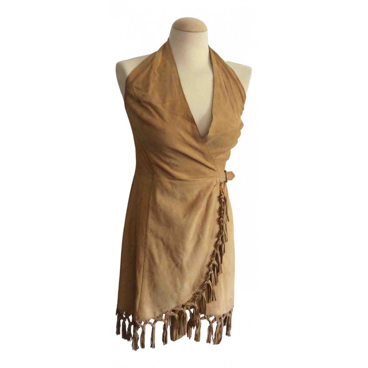 - Robe   pour femme en suede - camel