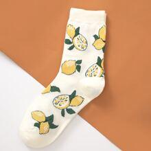 Socken mit Zitrone Stickereien