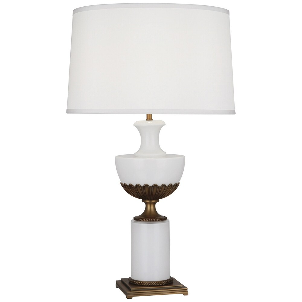 Robert Abbey 3325 One Light Table Lamp Williamsburg Ludwell Polished White Glass w/ Aged Brassed - One Size (One Size - Clear)