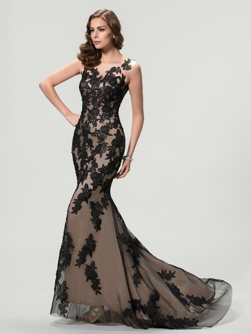 Scoop Lace Mermaid/Trumpet Evening Dress