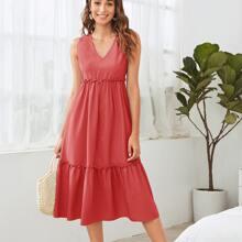 Frill Trim Solid A-line Dress