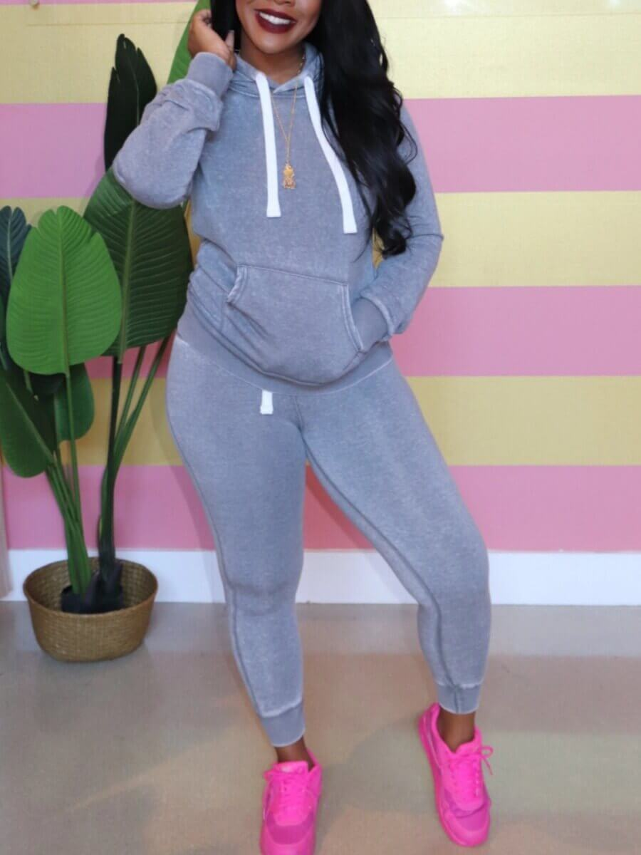 LW Lovely Casual Hooded Collar Kangaroo Pocket Grey Two Piece Pants Set