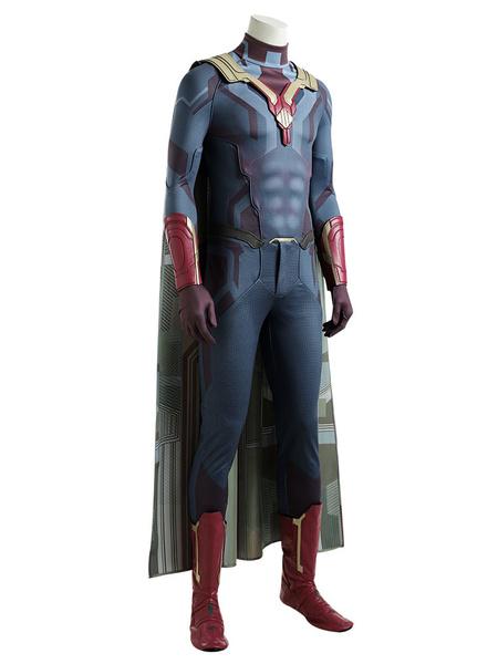 Milanoo Marvel Comics Marvel Avengers Vision Superhero Carnival Cosplay Costume