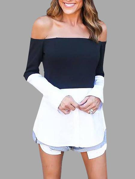 Yoins Black & White Off Shoulder Long Sleeves T-shirt