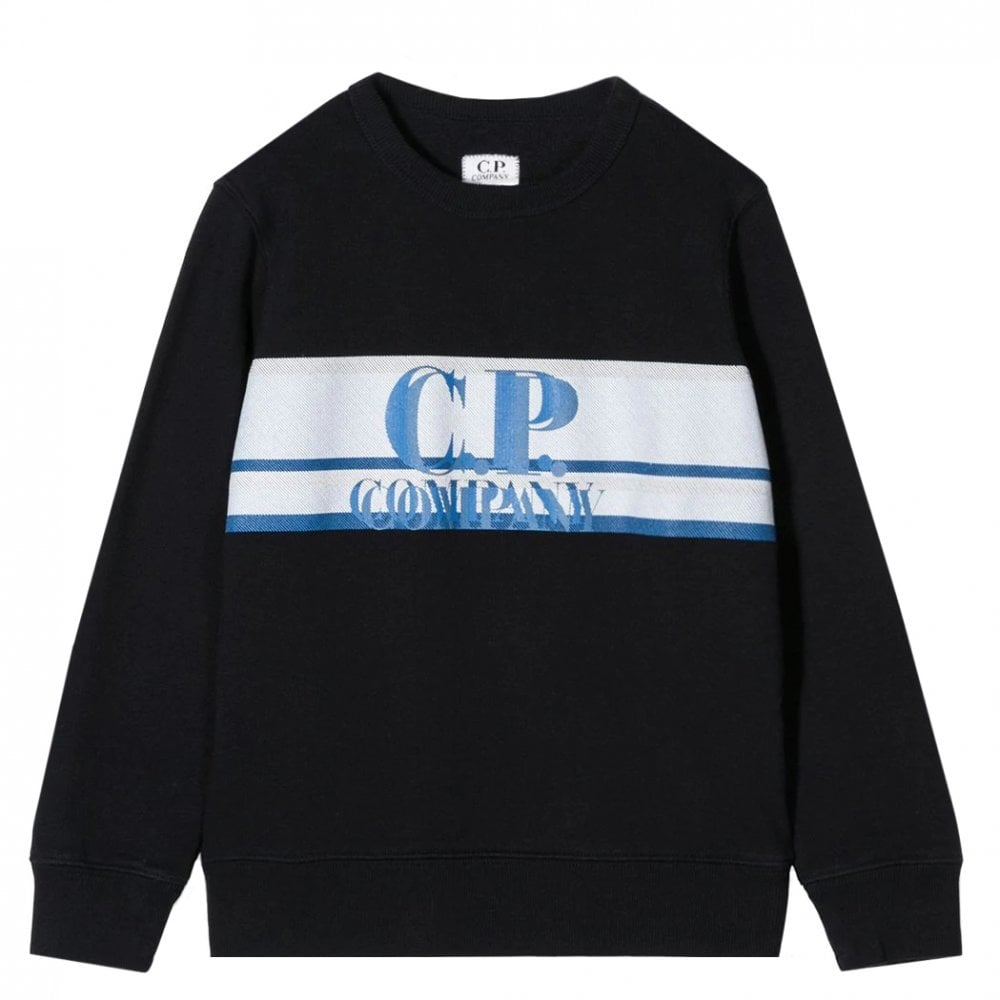 C.P. Company Kids Textured Logo Sweatshirt Colour: NAVY, Size: 12 YEAR