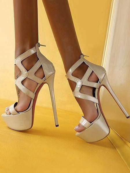 Milanoo Women Sexy Sandals Platform Open Toe Cut Out Zip Up High Heel Sandal Shoes