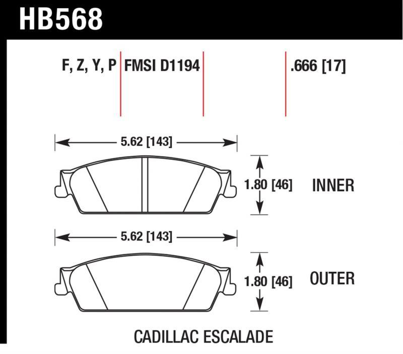 Hawk Performance HB568Y.666 Disc Brake Pad Rear