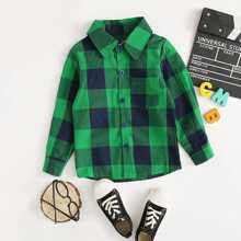 Toddler Boys Gingham Print Button Front Shirt