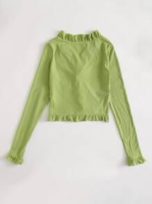 Ruffle Rib-Knit Crop Top