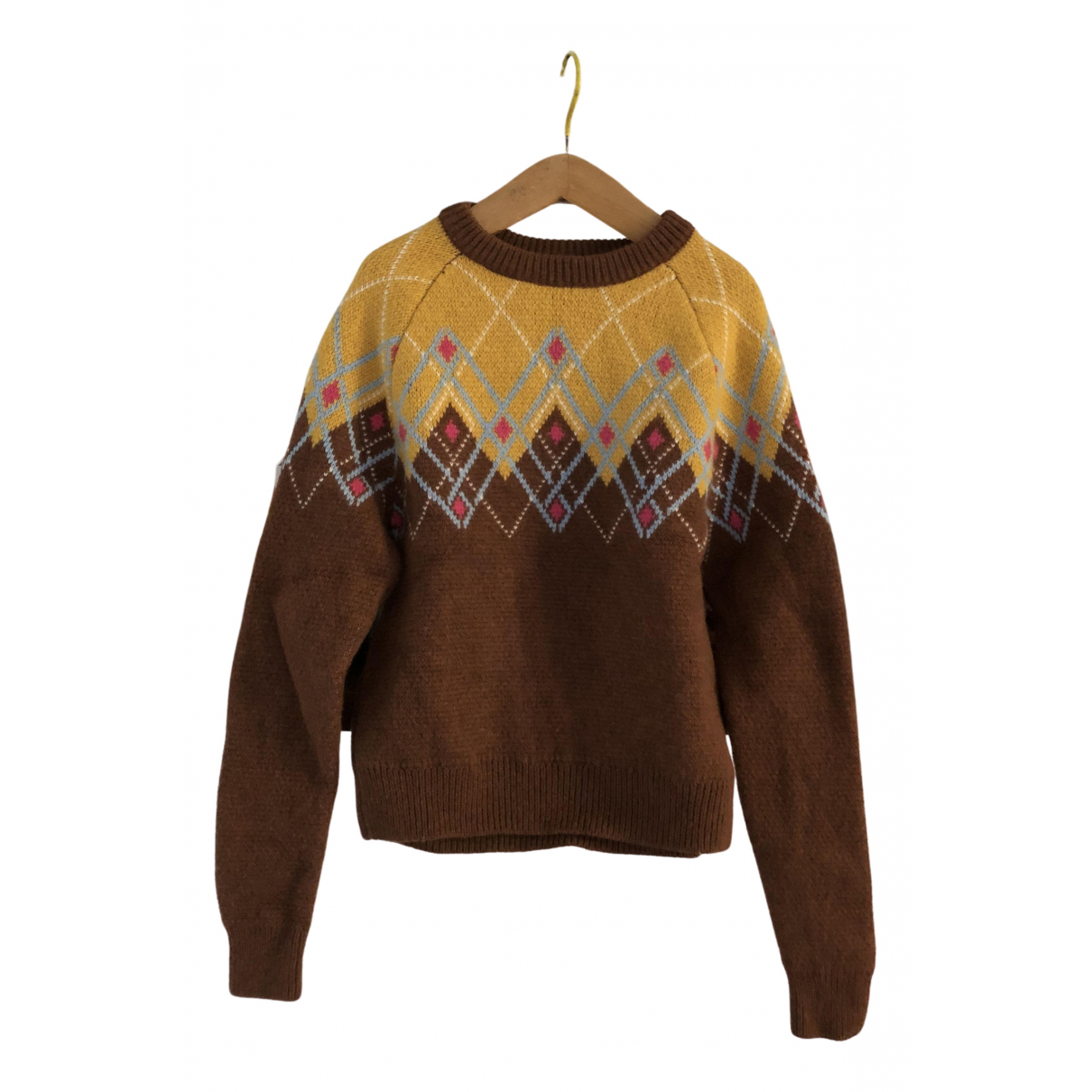 Non Signe / Unsigned \N Pullover in  Braun Wolle
