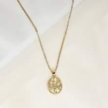 Rhinestone Tree Charm Necklace