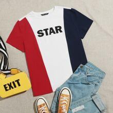 Letter Graphic Colorblock Tee