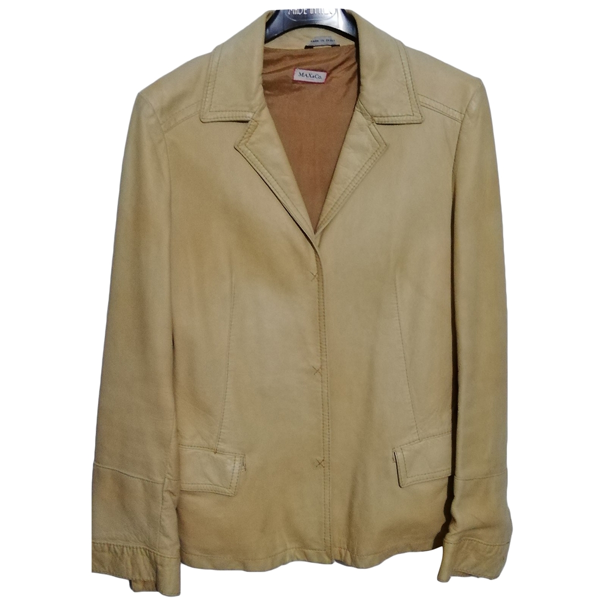 Max & Co \N Beige Leather Leather jacket for Women 44 IT