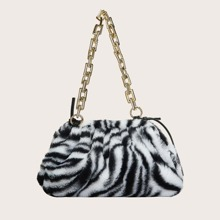 Zebra Striped Chain Shoulder Bag
