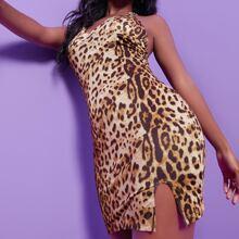 Rueckenfreies Kleid mit Band, Schlitz am Saum, Leopard Muster und Neckholder