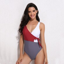 Color Block Knot Side One Piece Swimsuit