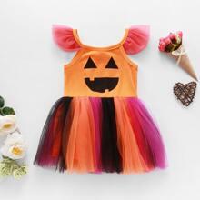 Vestido de tirantes panel con malla con estampado de Halloween