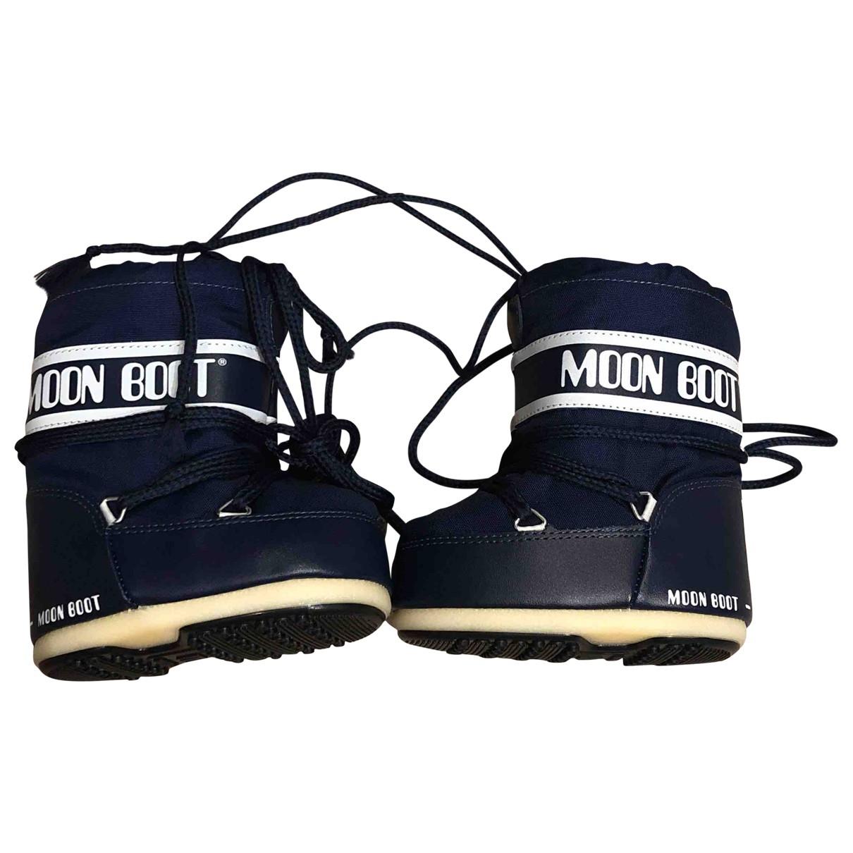 Moon Boot - Bottes.Bottines   pour enfant en toile - marine