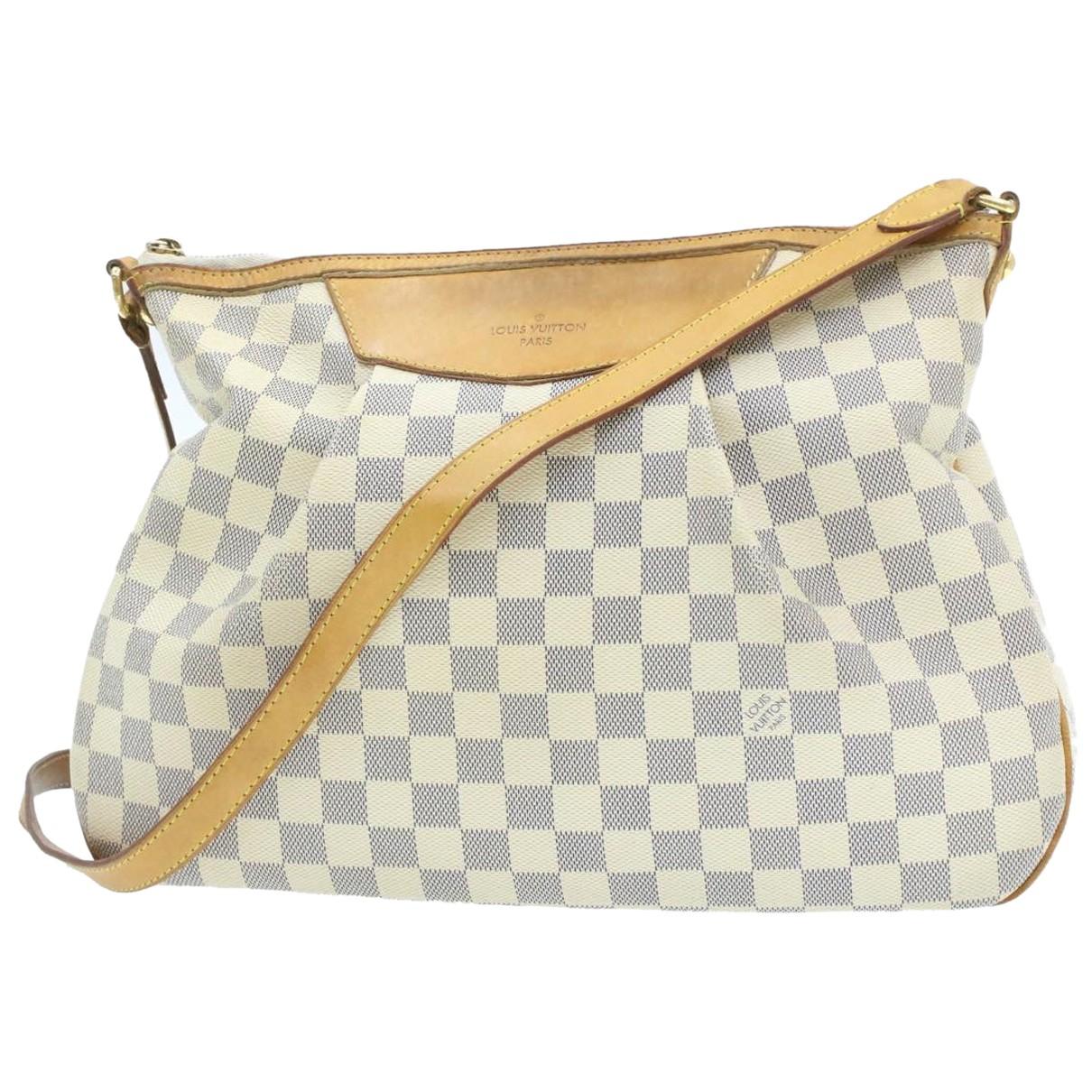 Louis Vuitton Siracusa Handtasche in  Weiss Leinen