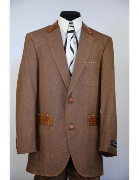 Mens fashion faux leather accents denim 2pc zoot suit
