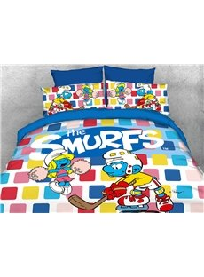 Hockey Smurf and Dancing Smurfette 4-Piece Bedding Sets/Duvet Covers