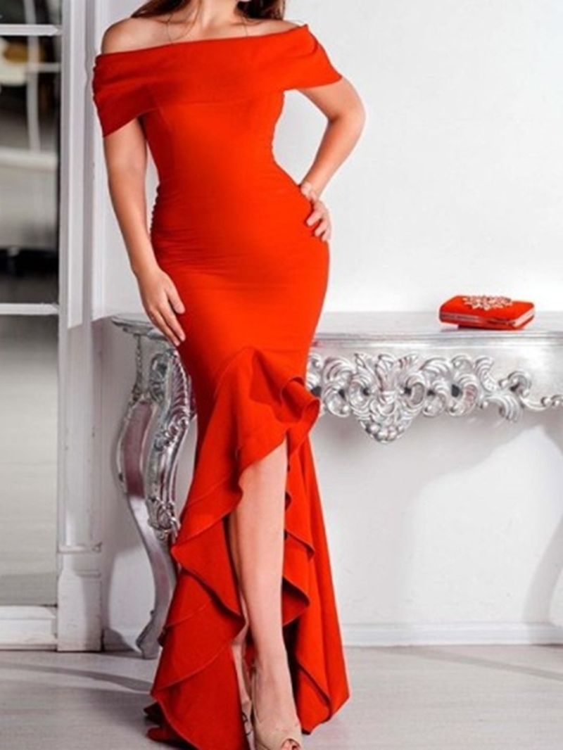 Ericdress Trumpet/Mermaid Short Sleeves Off-The-Shoulder Asymmetry Evening Dress 2020