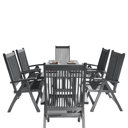 Renaissance Collection V1300SET11 7-Piece Outdoor Patio Dining Set with Rectangular Table and 6 Reclining