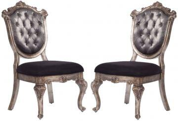 Chantelle Collection 60542 Set of 2 Side Chairs with Queen Anne Legs  Scrolled Crown  Vintage Style  Antique Platinum Wood Frame and Silk-Like Fabric