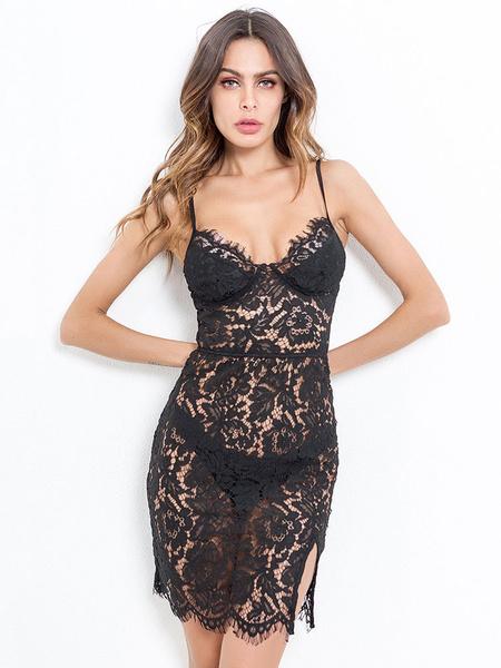 Milanoo Black Sexy Club Dress Straps Semi Sheer Lace Dress