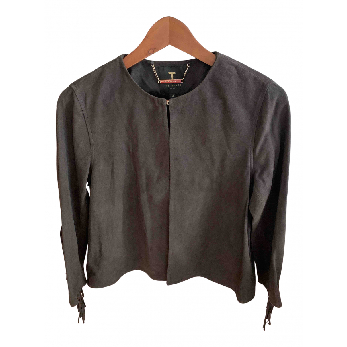 Ted Baker \N Grey Leather Leather jacket for Women 2 0-5