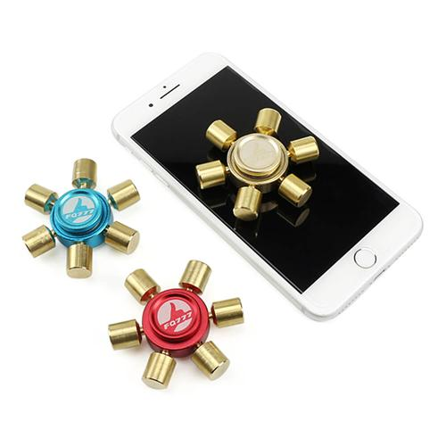 FQ777 Brass Hexagonal Fidget Hand Spinner Fingers Gyro Reduce Stress Focus Attention - Blue and Gold