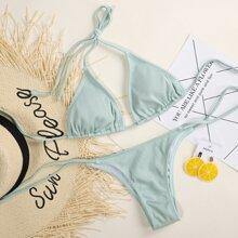 Gerippter dreieckiger Bikini Badeanzug mit seitlichem Band