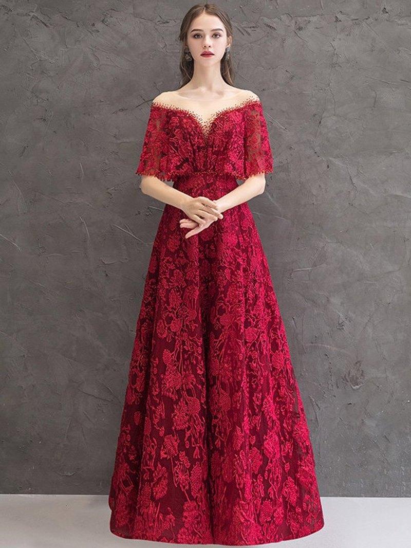Ericdress Scoop A-Line Floor-Length Half Sleeves Evening Dress