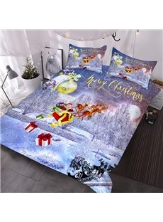 3D Christmas Comforter Sleigh Scenery Printed 3-Piece Soft Comforter Sets