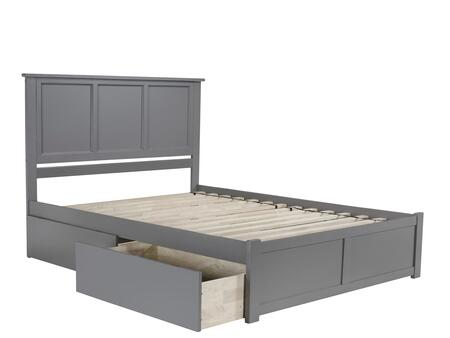 Madison Collection AR8642119 Queen Size Platform Bed with 2 Urban Bed Drawers  Casters  Flat Panel Foot Board  Hardwood Slat Kit and Eco-Friendly