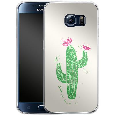 Samsung Galaxy S6 Silikon Handyhuelle - Linocut Cacti von Bianca Green