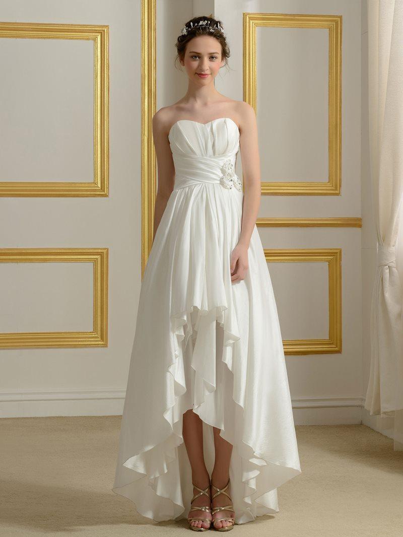 Ericdress 3D Floral Beading High Low Beach Wedding Dress