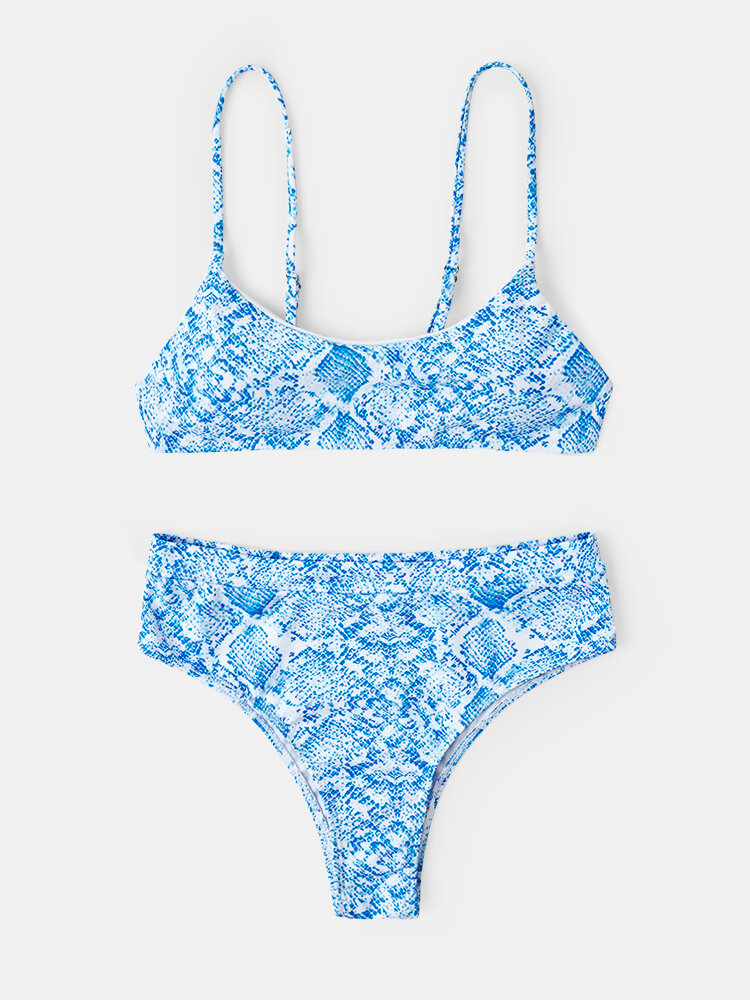 Women Snake Print Adjustable Thin Straps Bikinis Sexy Swimsuit