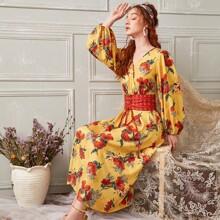 Floral Print Corset Waist Midi Dress