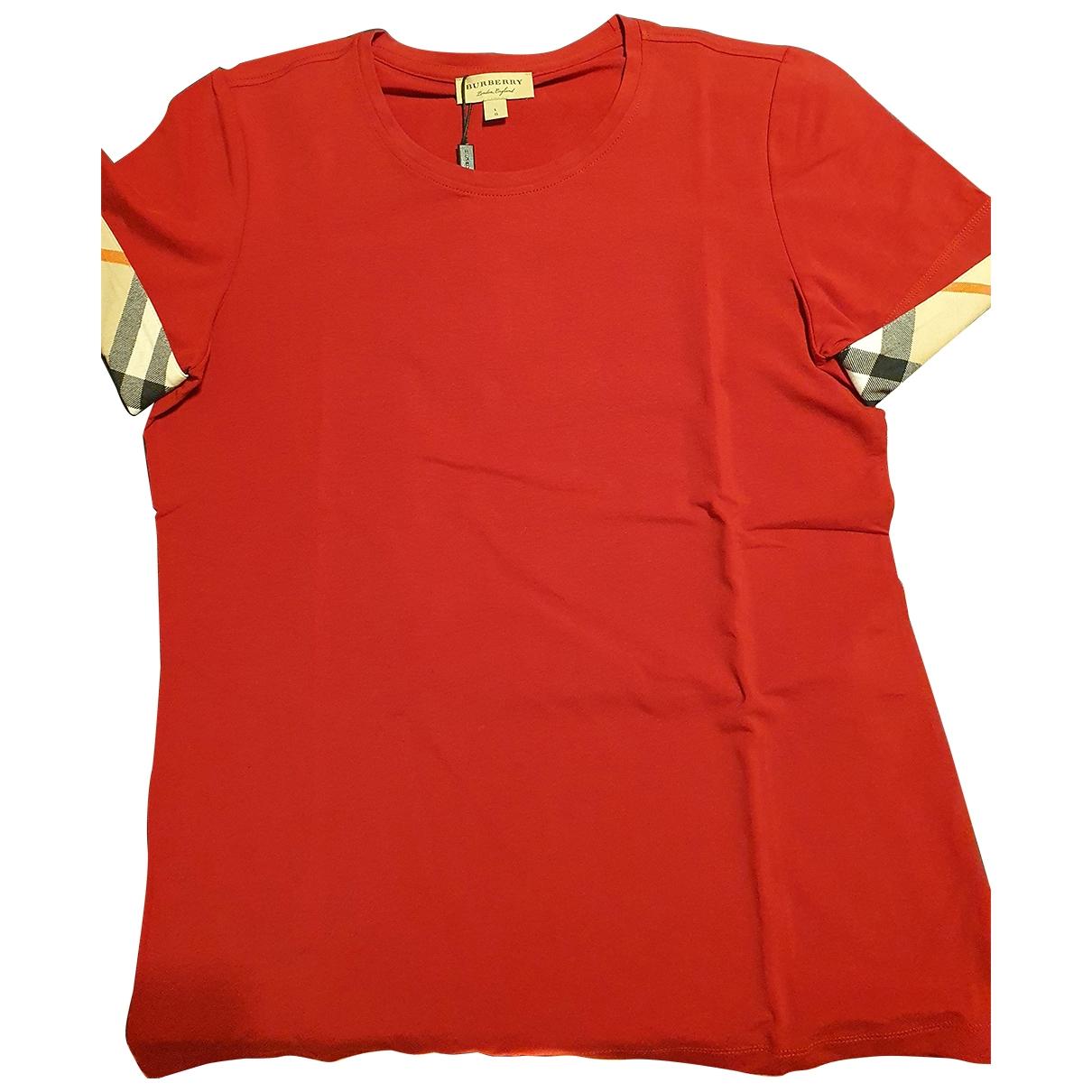 Burberry - Top   pour femme en coton - rouge